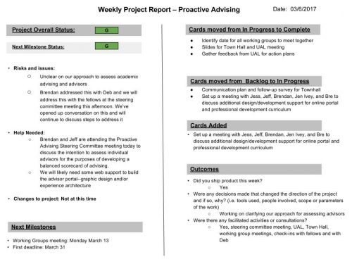 The weekly reporting slides summarize project progress.