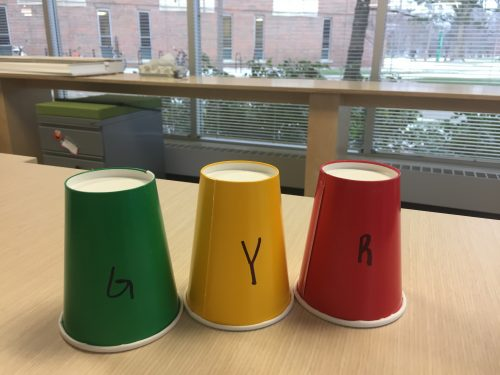 Three cups: green, yellow, and red. Each marked with the firsts letter of the color it corresponds to.