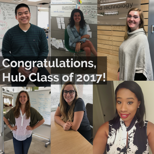"A collage of students with the text ""Congratulations, Hub Class of 2017!"" overlaid on top."