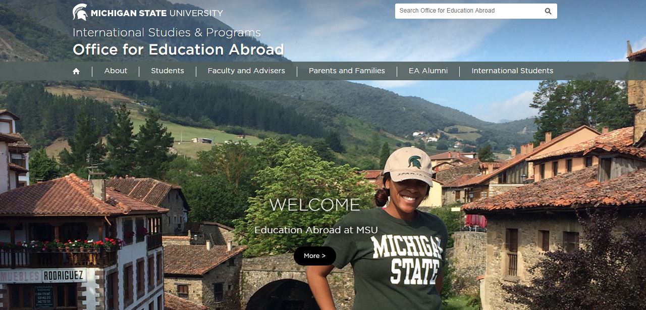 A screenshot of MSU Office of Education Abroad website.