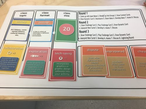 "Different cards occupy the game ""board"" under different categories. Each card represents a different conditions the player must follow to complete the round."