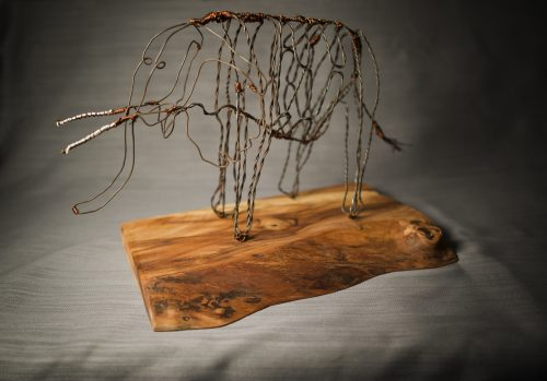 A snare turned art piece: a wire snare trap turned into an elephant art piece, the animal it was formerly supposed to capture.