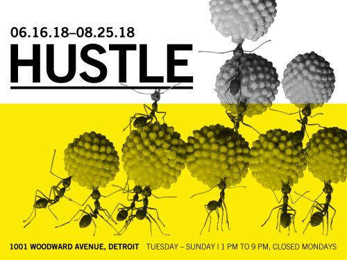 Ants surround the word HUSTLE and Science Gallery logos