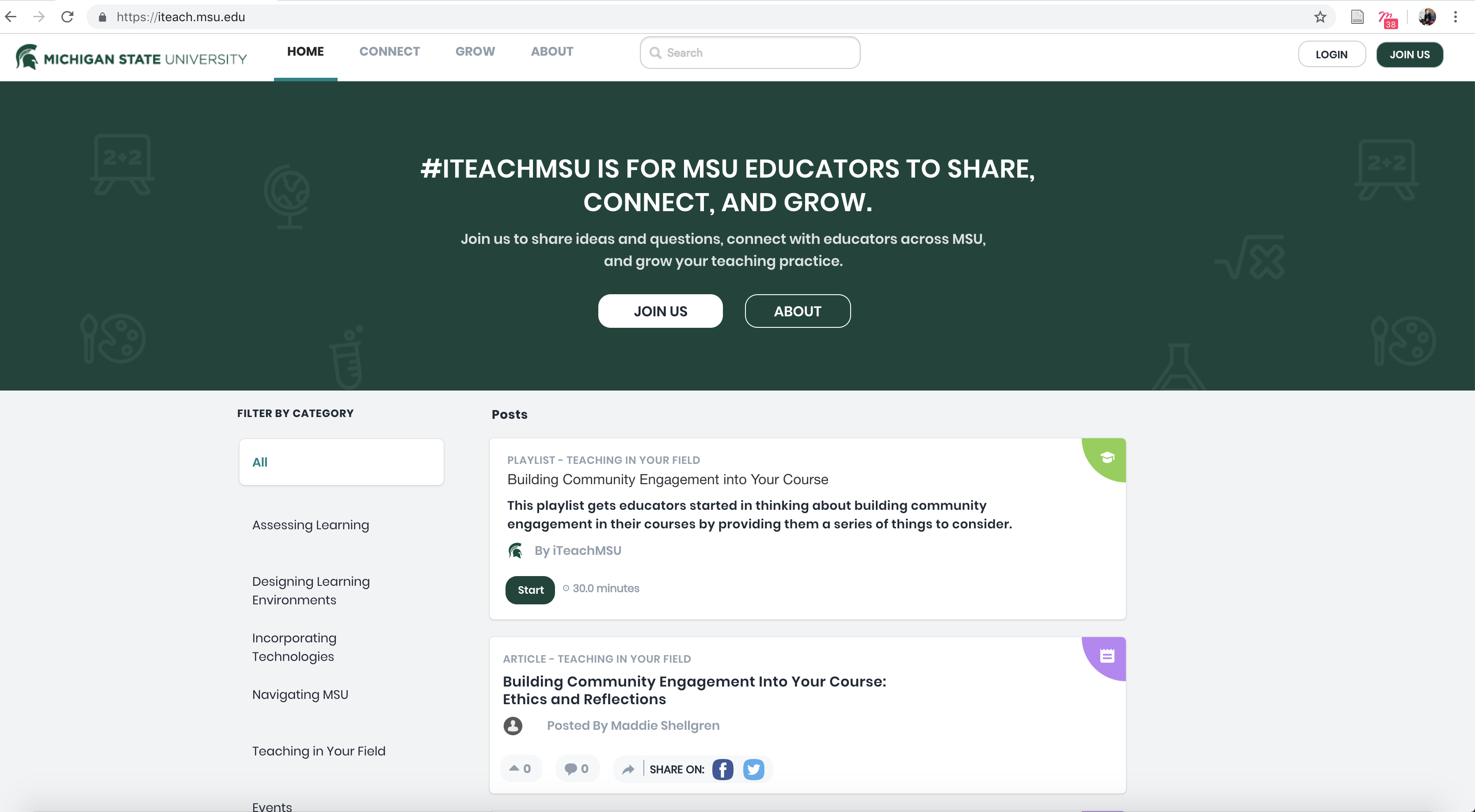 screenshot of the #iteachmsu homepage.