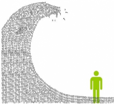 Green person below a wave of code in zeros and ones