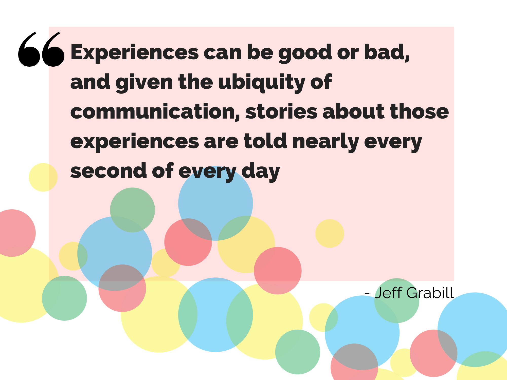 Experiences can be good or bad, and given the ubiquity of communication, stories about those experiences are told nearly every second of every day