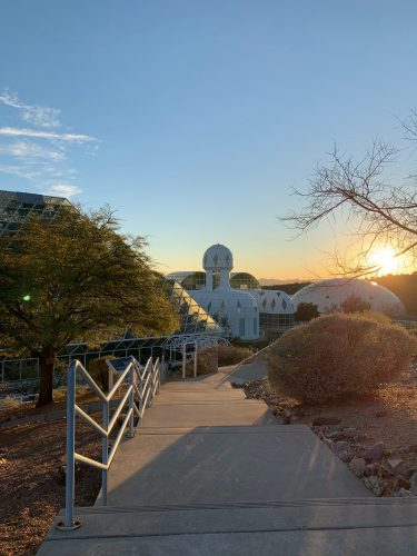 exterior of Biosphere 2 in Arizona