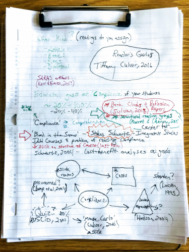Dave Goodrich's notes about compliance on handwritten paper.