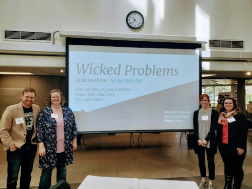 Wicked Problems Presentation. Dave Goodrich and a few of his colleagues in the Hub's Flex Space.