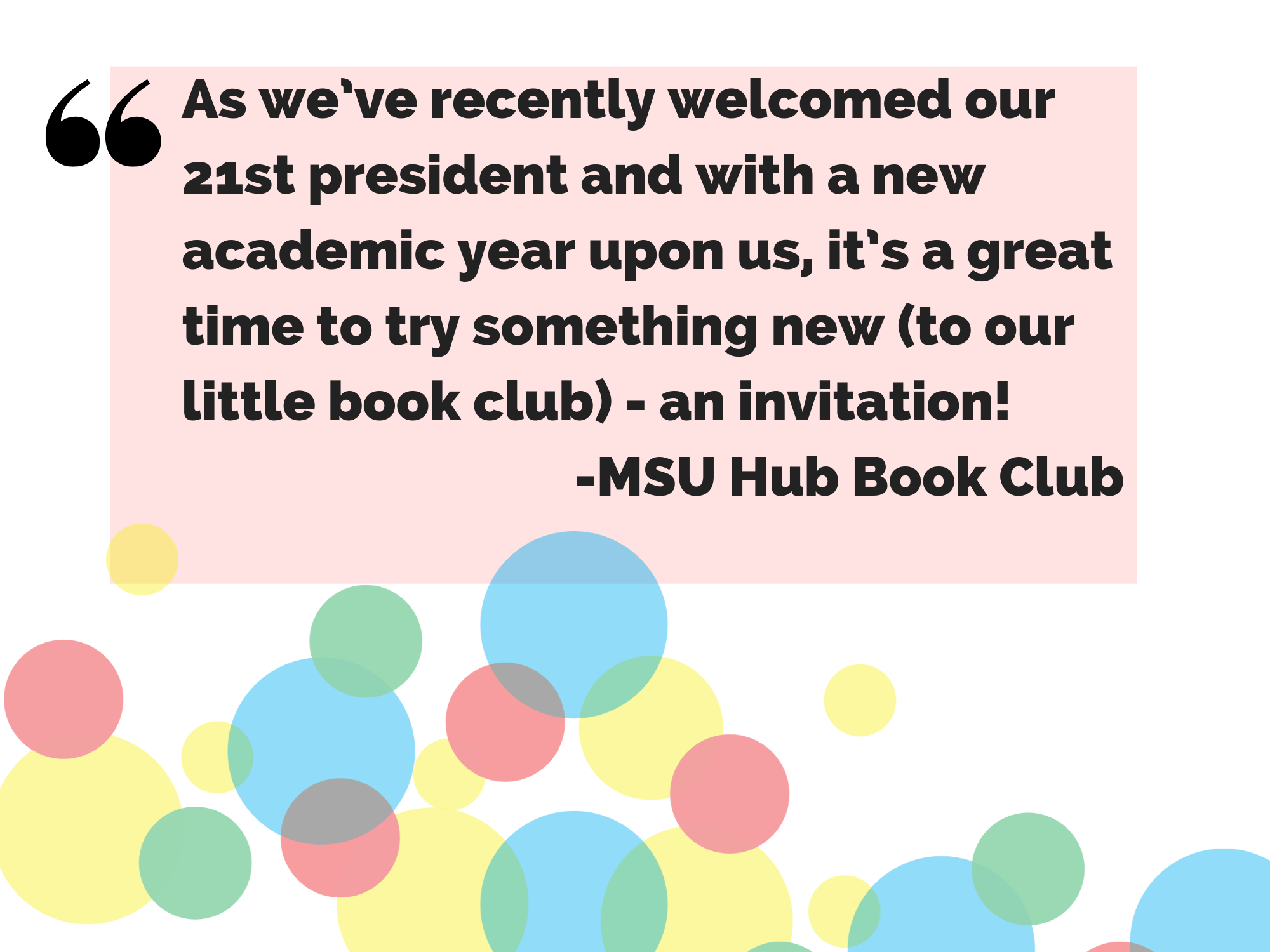 As we've recently welcomed our 21st president and with a new academic year upon us, it's a great time to try something new (to our little book club) - an invitation!