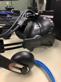a closeup of a Vive VR headset