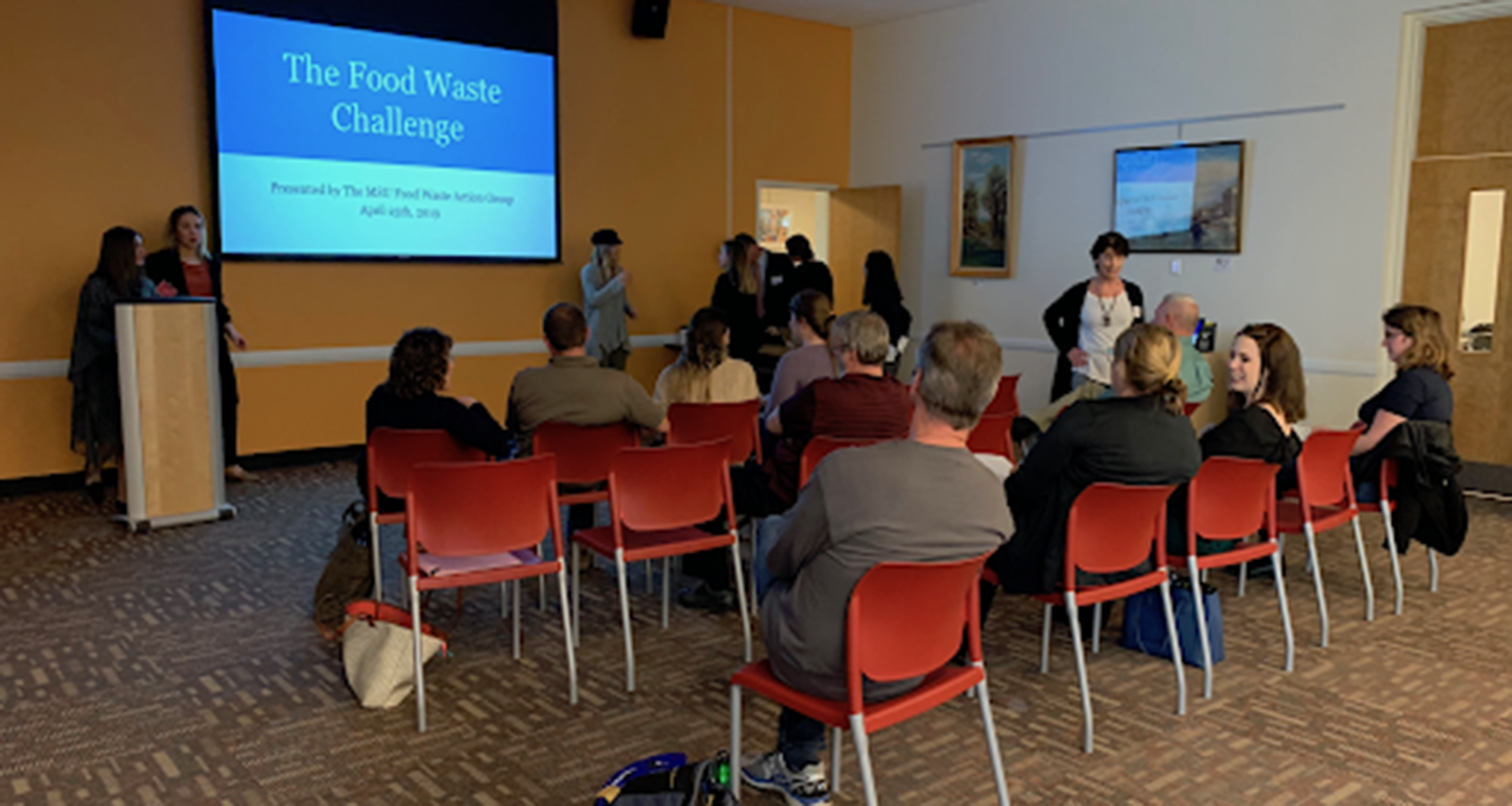 MSU Food Waste Challenge students presenting to an audience of local government and business leaders at the East Lansing Public Library, April 25th 2019.